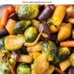 Honey Roasted Rainbow Carrots and Brussels Sprouts on a white platter with text overlay.