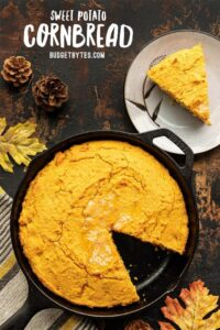 sweet potato cornbread with one slice on a plate on the side